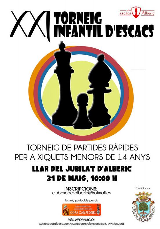 cartel torneo ajedrez infantil Alberique