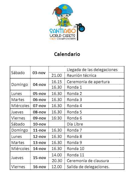 calendario mundial ajedrez