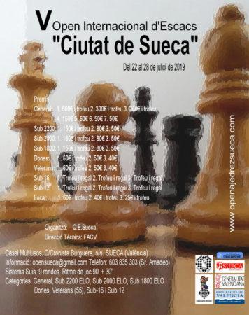 Cartel del Open Internacional de Ajedrez en Sueca, Valencia, España