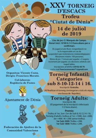 cartel torneo ajedrez en Denia, Alicante