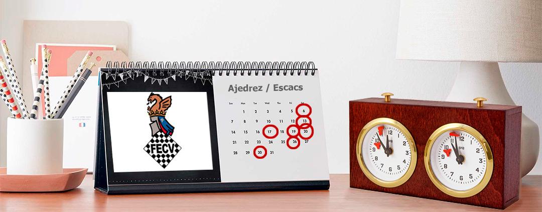calendario de mesa y reloj de ajedrez