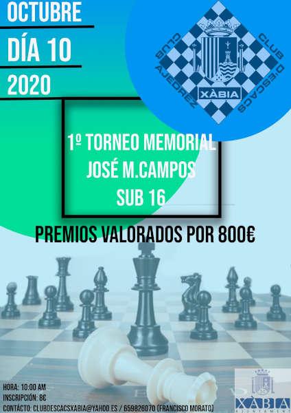 cartel con juego de ajedrez