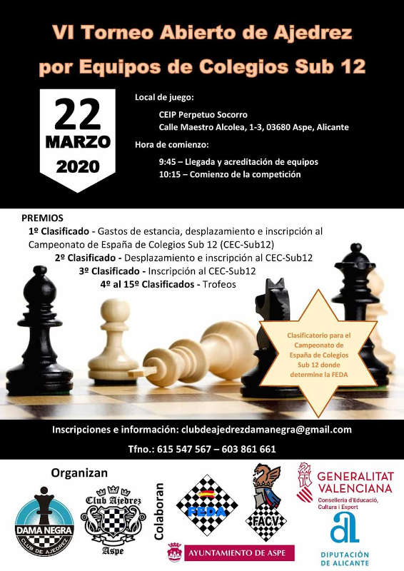 ajedrez escolar cartel
