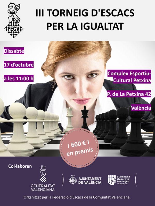 Cartel torneo ajedrez con mujer y piezas de ajedrez
