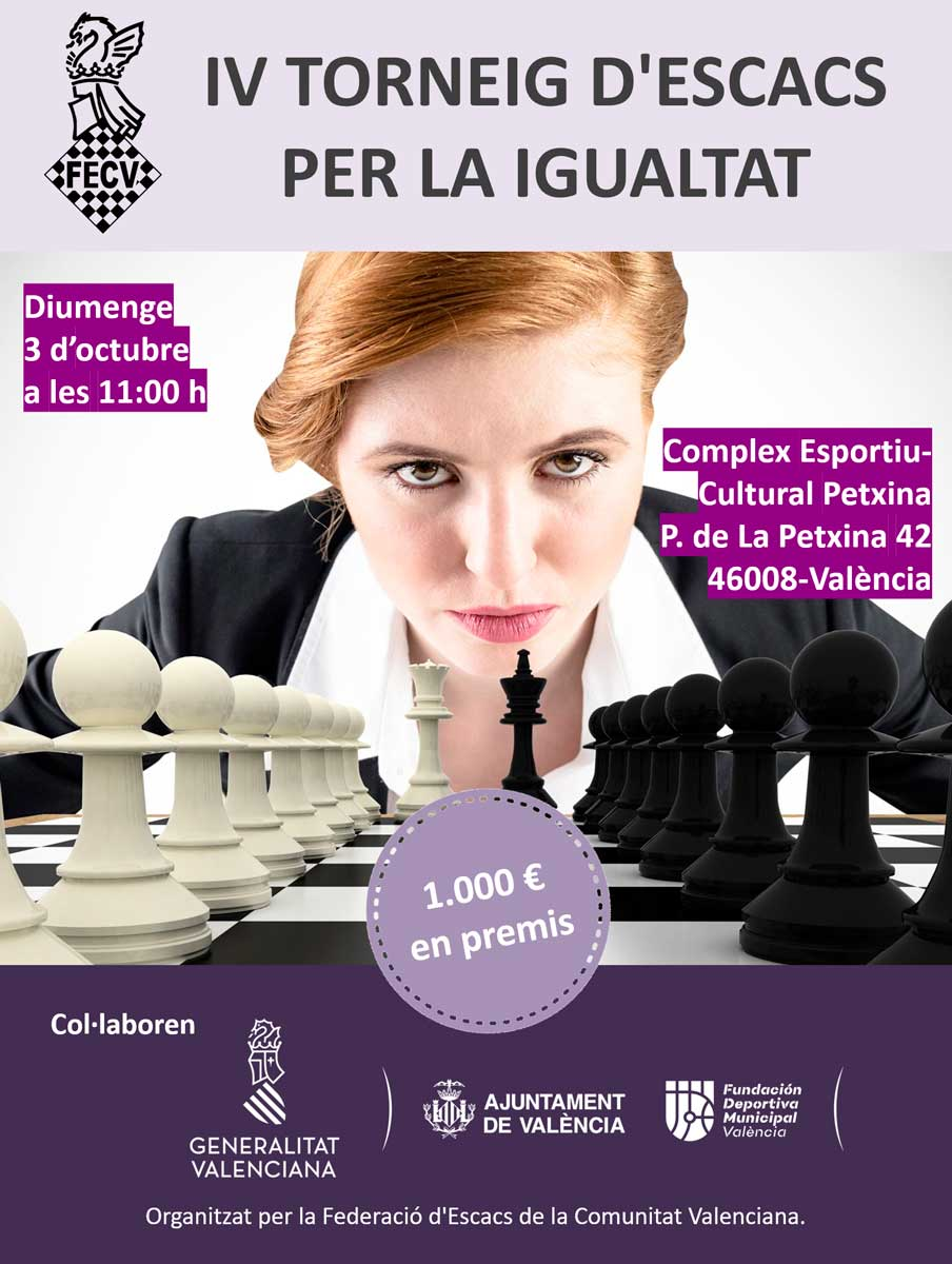 Cartel con una mujer y un ajedrez