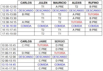 tabla de horarios tecnificación ajedrez