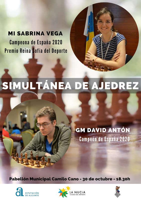 cartel partida de ajedrez simultánea