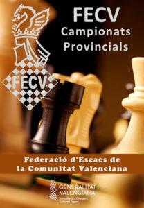 Cartel con piezas de ajedrez
