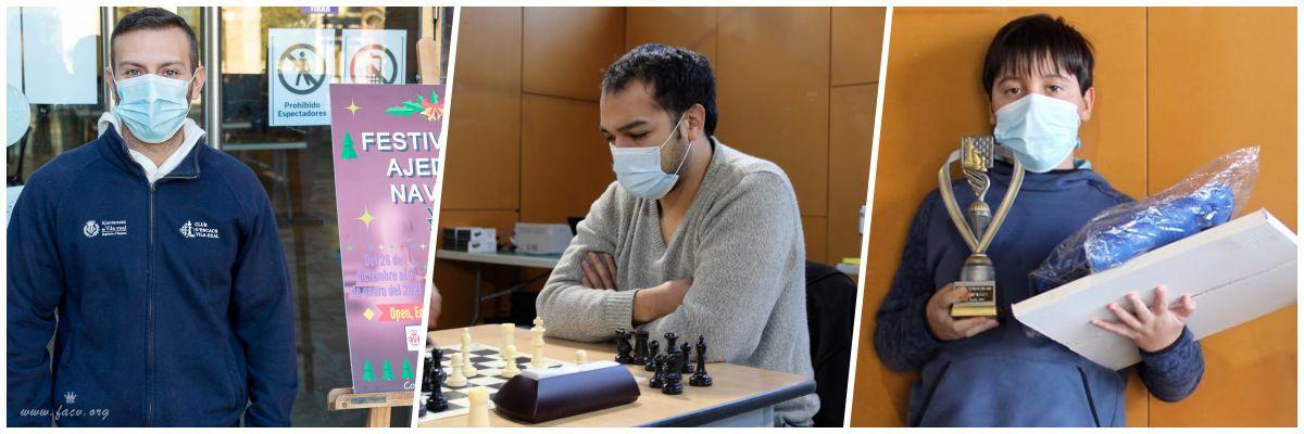 tres jugadores de ajedrez premiados