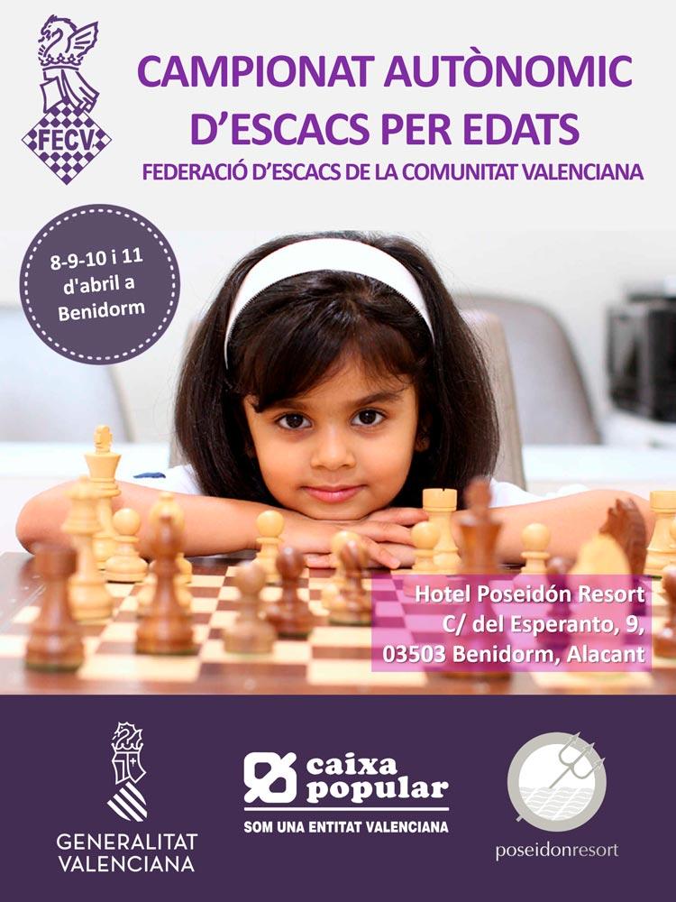 Cartel con una niña y un ajedrez