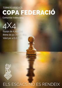 cartel del torneo con figura del peón y rey del ajedrez