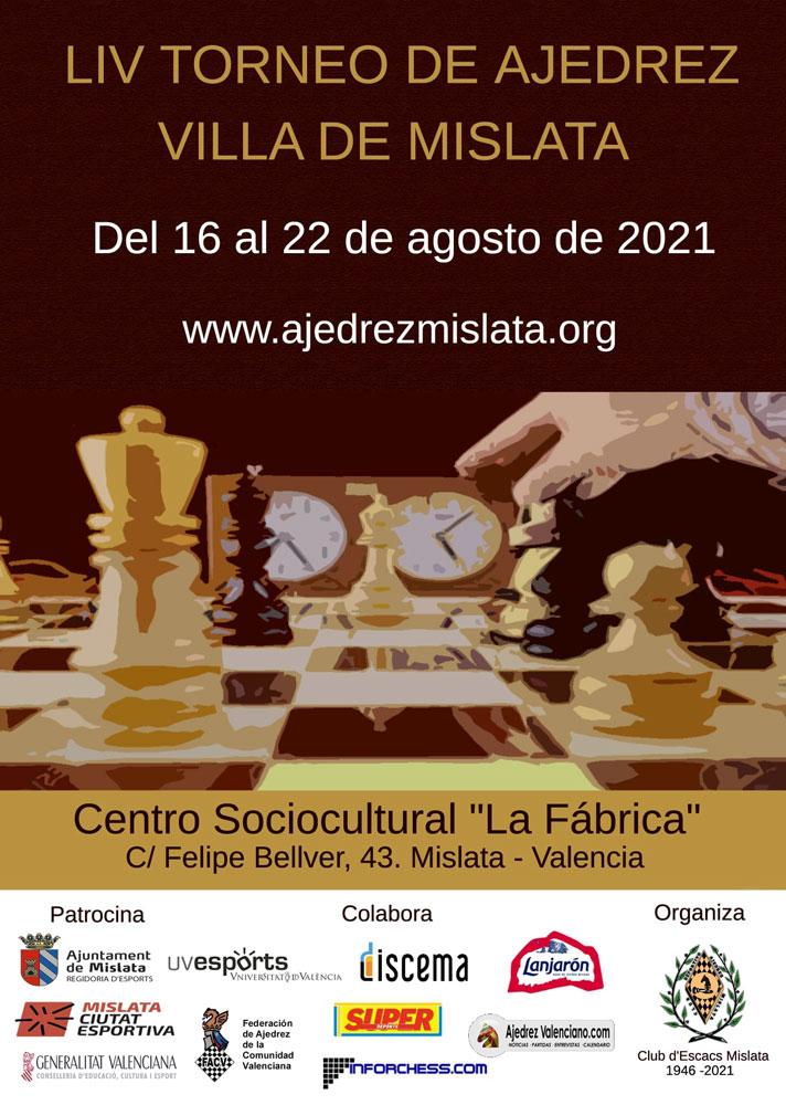 cartel torneo con piezas de ajedrez