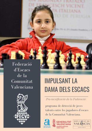 cartel con niña y ajedrez