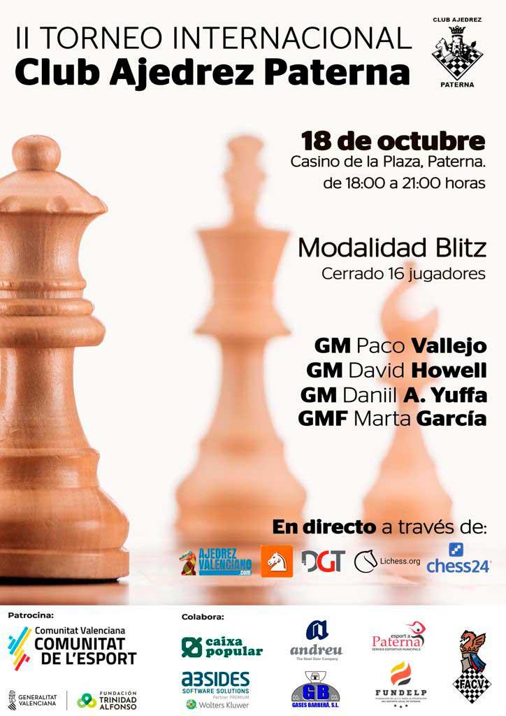 Cartel del torneo con piezas de ajedrez