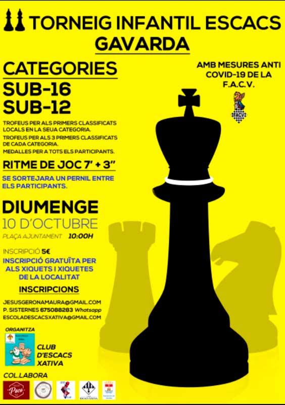 cartel con siluetas de piezas del ajedrez