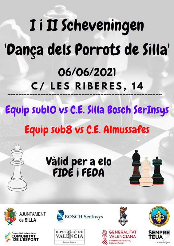 cartel de torneo con figuras de ajedrez