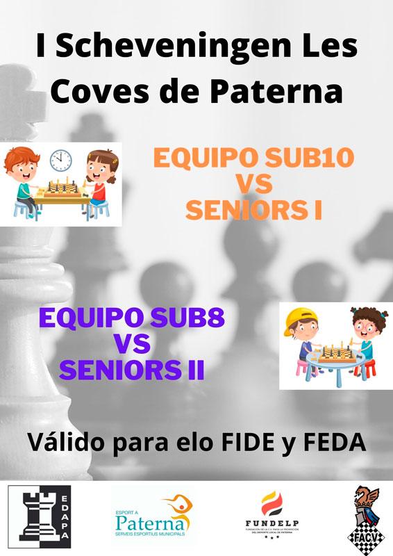 cartel de torneo de ajedrez con figuras de niños jugando