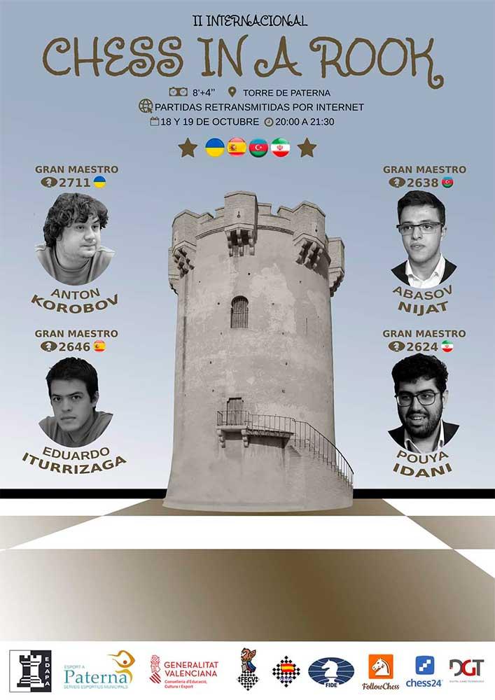 cartel de torneo de ajedrez con fotos de los participantes