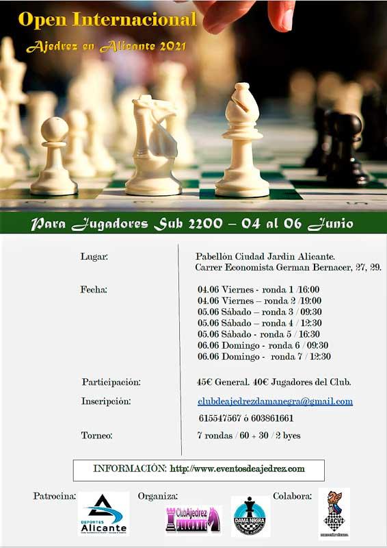 Cartel de torneo de ajedrez con piezas del juego