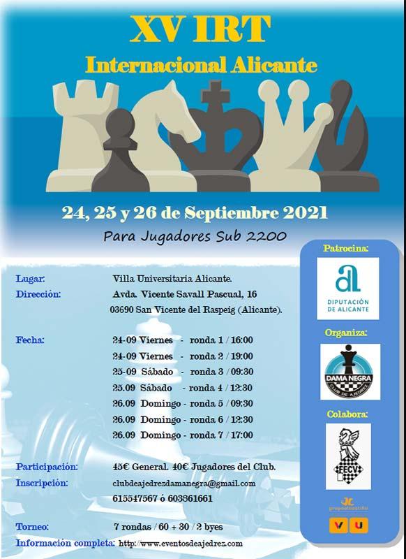 cartel de torneo con siluetas de ajedrez