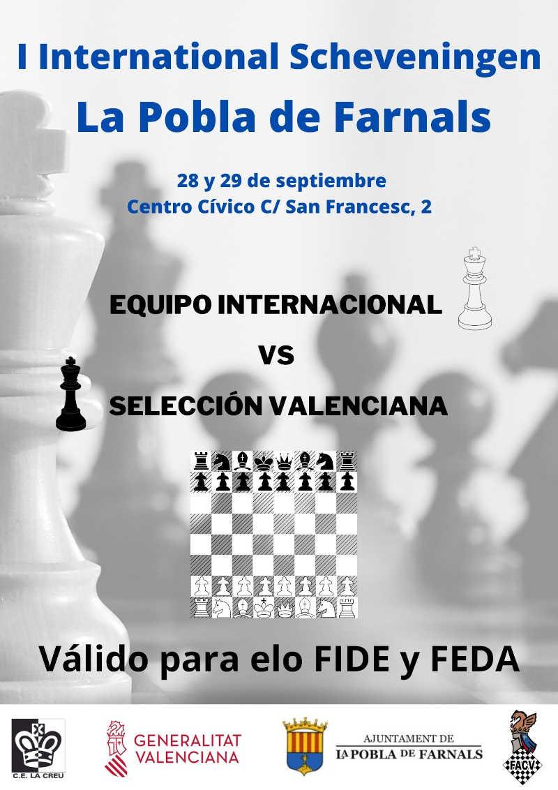 cartel anunciador con un diagrama de ajedrez