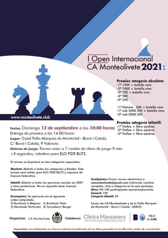 cartel torneo con siluetas de ajedrez
