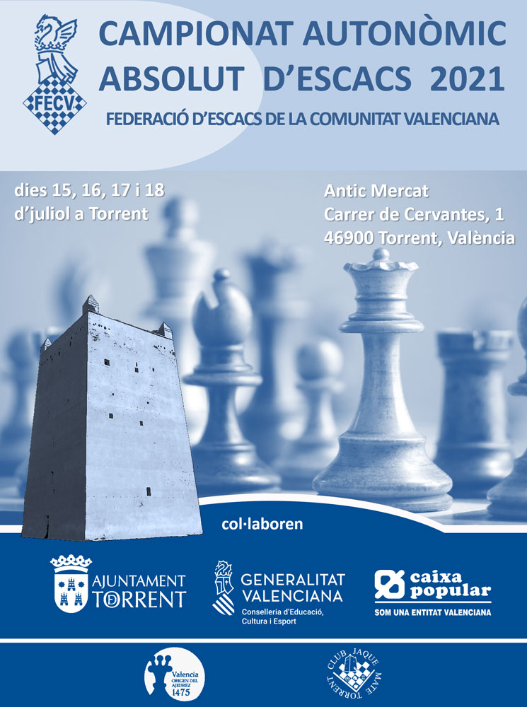 Cartel torneo de ajedrez con figuras del juego y la Torre de Torrent