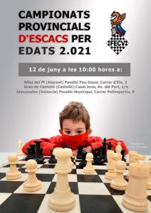 Cartel torneo con un niños y piezas de ajedrez