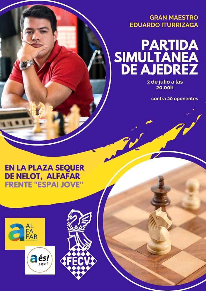 Cartel con jugador y ajedrez