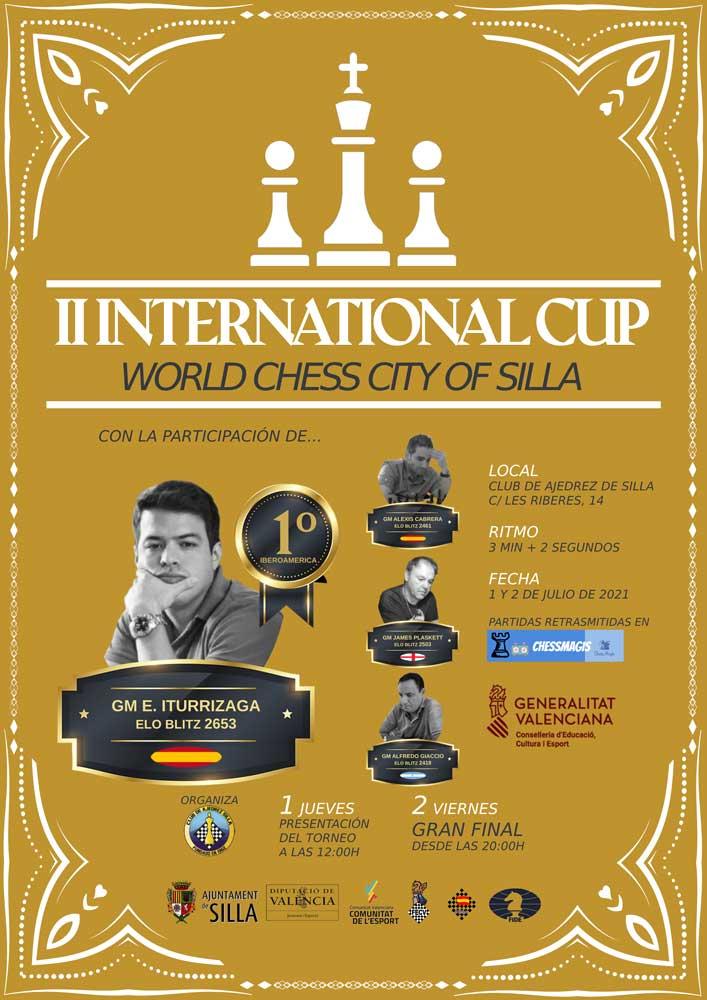 cartel torneo ajedrez con fotografías de los jugadores