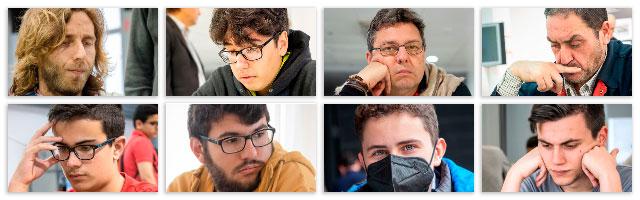 Ocho jugadores de ajedrez