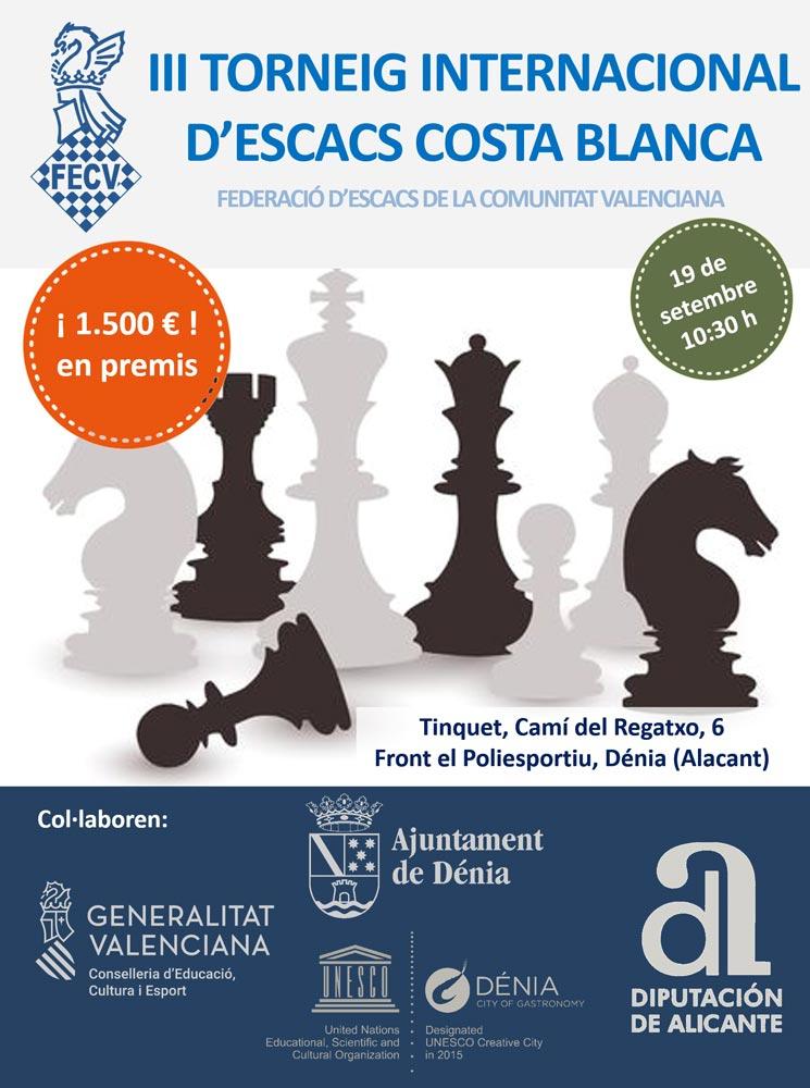 cartel del torneo con siluetas de figuras del ajedrez