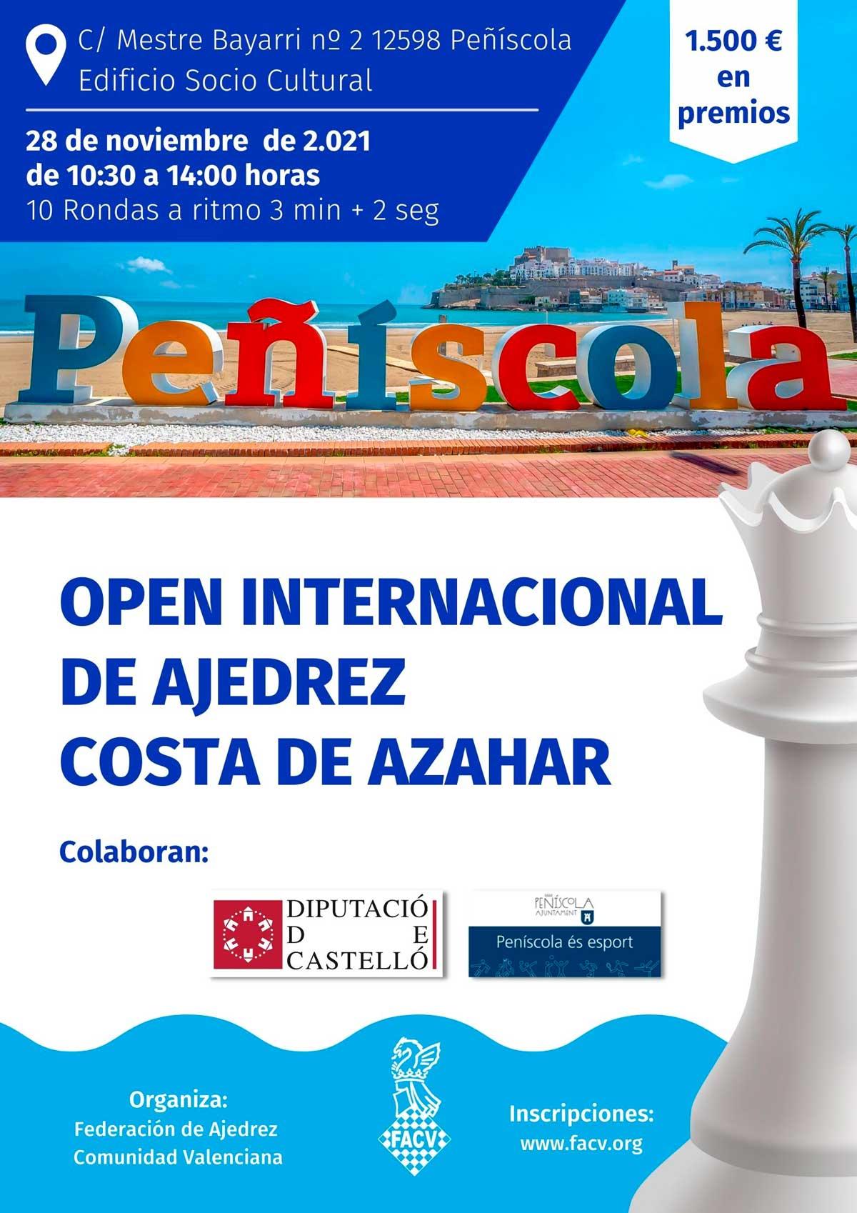 Cartel anunciador torneo de ajedrez en Peñíscola, España