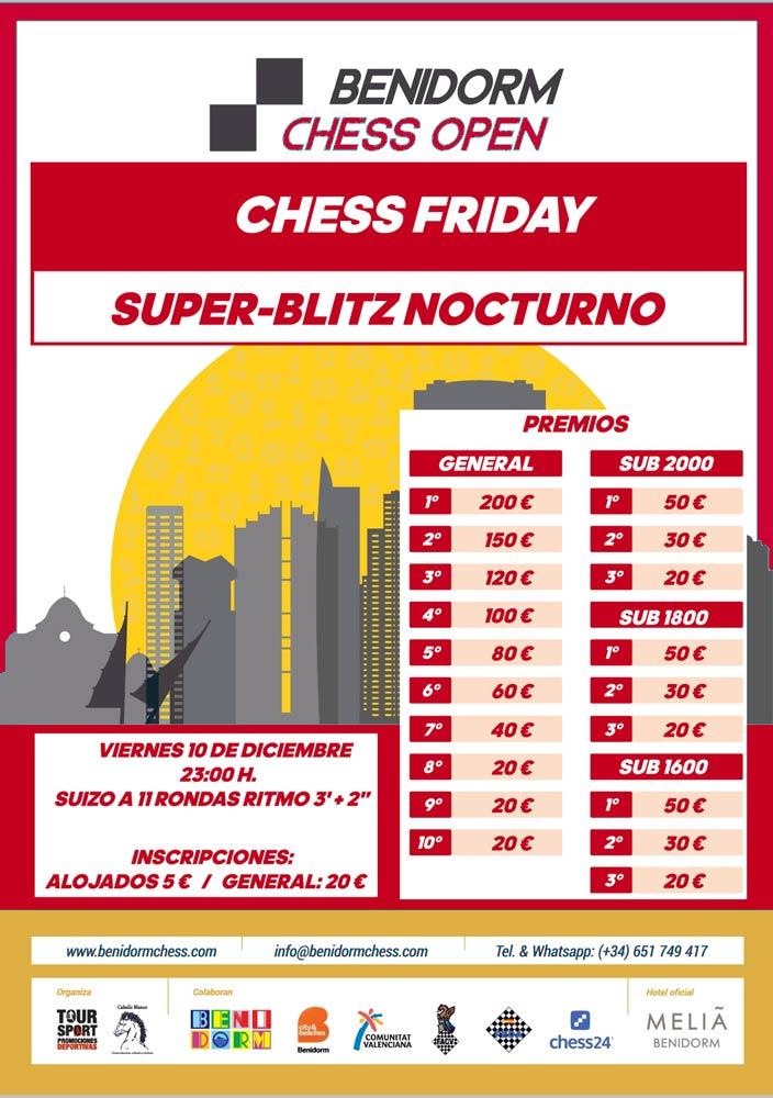 Cartel torneo nocturno de ajedrez